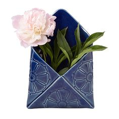 Handmade by Shandi McConnell, this charming porcelain vase was crafted to form an envelope.