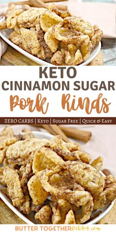 Enjoy a surprisingly delicious Keto snack with zero carbs involved! These buttery Keto Cinnamon Sugar Pork Rinds taste just like both a churro and Cinnamon Toast Crunch! Low Carb Keto, Low Carb Recipes, Snack Recipes, Smoothie Recipes, Free Recipes, Dinner Recipes, Diabetic Recipes, Appetizer Recipes, Dessert Recipes