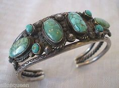 Very-Old-1930s-40s-NAVAJO-Hand-Stamped-Sterling-Silver-TURQUOISE-Cuff-BRACELET
