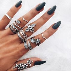 Best hand ever!! Long black nails.silver jewellery