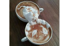 This Latte coffee art is created by the Japanese artist Kazuki Yamamoto. He has taken this coffee art a bit forward and created an impressive coffee art. Coffee Latte Art, My Coffee, Coffee Cups, Cappuccino Art, Drink Coffee, Coffee Barista, White Coffee, Funny Coffee, Coffee Meme