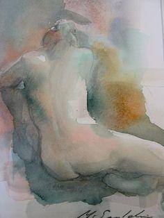 kroki i akvarell