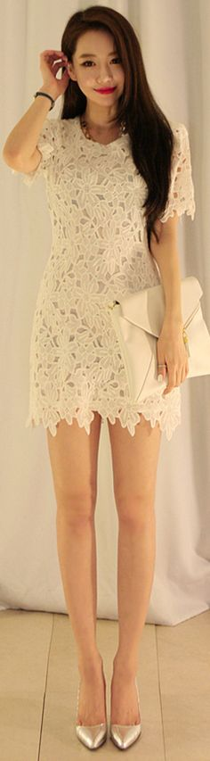 [Korean drama Kpop star fashion] Asian women fashion style Flower cutting Dress