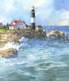 Robert Steele lighthouse watercolor illustration
