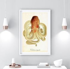 Nautical Wall Decor, Coastal Wall Art, Wall Art Decor, Wall Art Prints, Octopus Painting, Octopus Wall Art, Octopus Illustration, Ocean Home Decor, Vintage Nautical