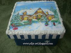 Galletero Navidad Decoupage, Curiosity, Boxes, Birthday Cake, Eggs, Christmas, Crafts, Christmas Boxes, Decorated Boxes
