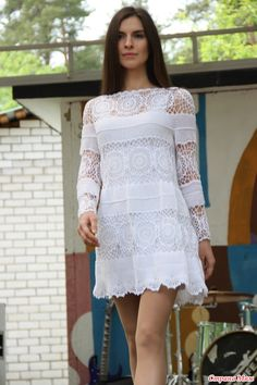 Discover recipes, home ideas, style inspiration and other ideas to try. Crochet Cardigan, Knit Dress, Dress Skirt, Lace Skirt, Irish Crochet, Crochet Lace, Crochet Wedding Dresses, Fashion Models, Fashion Outfits