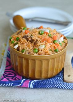 Jollof Rice(Jellof Rice) - Immaculate Bites - I Cook Different One Pot Rice Meals, One Pot Dishes, Rice Dishes, Main Dishes, Ghanaian Food, Nigerian Food, Halal Recipes, Cooking Recipes, Rice Recipes