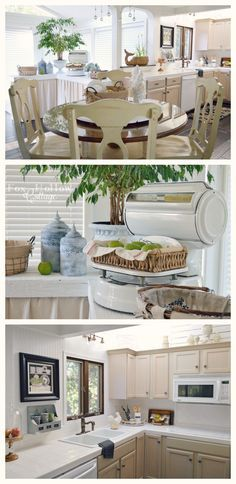 diy cottage kitchen - updated with refreshed decor and vintage touches - light, bright, neutral color scheme.