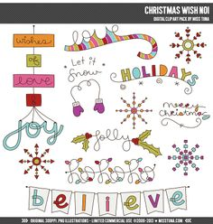 Christmas+Wish+No1+Digital+Clipart+Clip+Art+by+MissTiina+on+Etsy,