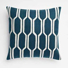 west elm modern blue white ivory geometric decorative pillow