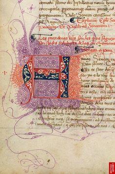 """openmarginalis:  Initial, """"Epistolae, etc."""": Spain, 15th century via The British Library, Public Domain."""
