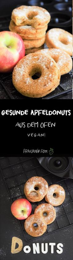 Gesunde Apfeldonuts aud dem Ofen- ohne Hefeteig, wenig Fett und Zucker & vegan...