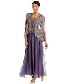 Patra Sleeveless Metallic Lace Gown angelin Jacket | I Ok everything except the color.