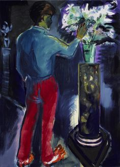 His Flowers III - Rainer Fetting , 1981 German, oil and pigment on canvas , 220 x 160 cm. x 63 in. Rainer Fetting, Queer Art, Figurative Art, Painting & Drawing, Germany, Canvas, Drawings, Flowers, Oil