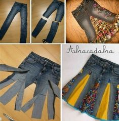 Denim Jeans To Skirt Tutorial Easy Video Instructions Jeans Rock Upcycle Patterns (Visited 2 times, 1 visits today) Diy Clothing, Sewing Clothes, Clothes Refashion, Sewing Pants, Shirt Refashion, Simple Clothing, Skirt Sewing, Denim Crafts, Upcycled Crafts