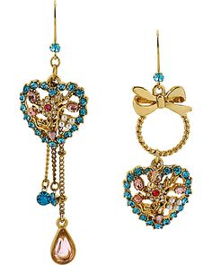 HANGING HEARTS PINK BLUE EARRING PINK BLUE accessories jewelry earrings fashion