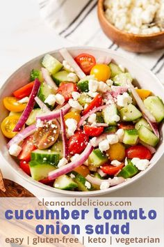 This cucumber tomato onion salad is full of fresh sliced cucumbers, cherry tomatoes and red onion, all tossed in a red wine vinaigrette and sprinkled with feta cheese. The perfect light and refreshing side dish for any summer meal! Healthy Gluten Free Recipes, Healthy Salad Recipes, Vegetarian Recipes, Tomato And Onion Salad, Weight Watchers Salad, Clean And Delicious, Clean Eating, Healthy Eating, Main Dishes