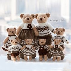 ✅ Who is your favorite?  a big family of bears in honey and chocolate colors;  a family of orange foxes;  a family of bunnies in tiffany (mint) colors;  wedding bears;  a family of bears in blue and pink;  pair bunny in blue;  pair teddy in pink;  a family of terracotta foxes in dark green;  family pandas.