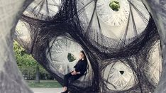 ICD and ITKE from Stuttgart designed and built a robotically woven, carbon fiber pavilion whose structure was inspired by beetles.