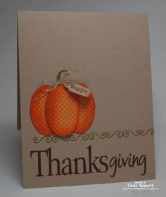 Best DIY Ideas of Handmade Thanksgiving Cards Picture 13 - Awesome Indoor & Outdoor Cute Cards, Diy Cards, Fall Cards, Holiday Cards, Holiday Ideas, Pumpkin Cards, Creative Cards, Greeting Cards Handmade, Scrapbook Cards