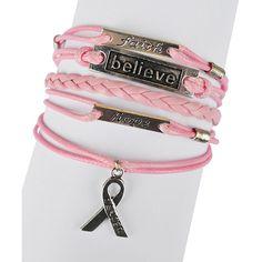 Valshi Pink 'Cancer' Braided Leather Bracelet ($7.99) ❤ liked on Polyvore