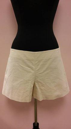 *NEW* Ivory Cream Solid Linen Feel Mini Short Shorts Ann Taylor Size 12 NWT  #AnnTaylor #MiniShortShorts