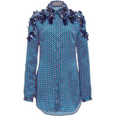 Monique Lhuillier Pajama Blouse With Embroidery (68 115 UAH) ❤ liked on Polyvore featuring tops, blouses, embroidery blouse, embroidery tops, blue silk top, monique lhuillier and blue top