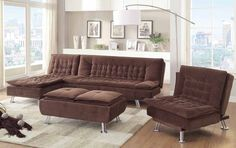 Lyell Transitional Brown Fabric Chrome Living Room Set