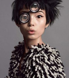 "Xiao Wen Ju in ""Seeing Double"" by Inez Vinoodh for Vogue, July 2014"
