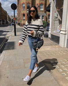 Casual Fall Outfits, Chic Outfits, Spring Outfits, Fashion Outfits, Inspiration Mode, Fashion Poses, Best Jeans, Striped Knit, Everyday Outfits