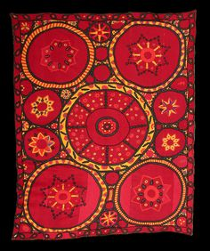 """A bit of history.19th century Uzbek Suzani, traditional wall hanging. """"Stars in the Sky"""". Silk embroidered. It looks so modern."""