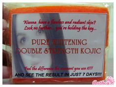 Soaps  •	Kojic Double Strength Soap - P 85  •	Alpha Arbutin Double Strength Soap - P 105  •	Peeling Soap - P 100  •	Gluta Whitening Soap with Vitamin C - P110  •	Tomato Soap - P 110  •	Supreme Whitening Placenta Soap - P 85  •	Underarm Soap -  105  •	Collagen and Mulberry Soap - P 125  •	Stretchmark Soap - P 85  •	Superior Anti-Acne Soap - P 125  •	Anti-microbial Soap - P 105  •	Kiwi Soap with Glutathione - P 110  •	Acne Soap X-3 - P 105  •	4 in 1 Whitening Soap - P 110    Order at…