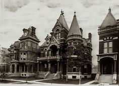 Frost House. Victorian Mansion. Brush Park, Detroit the whole area is abandoned and fallen into ruin.Many of these majestic homes are now gone. Truly Detroit's own ghost town.