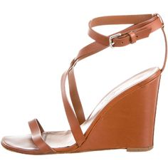 Pre-owned Herm�s Multistrap Sandals ($275) ❤ liked on Polyvore featuring shoes, sandals, brown, ankle tie shoes, hermes shoes, ankle wrap shoes, leather shoes and tan sandals