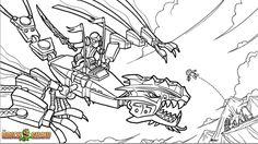Printable coloring page for LEGO Ninjago Golden Dragon Under Attack!