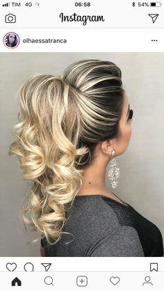 Best 10 RABO DE CAVALO – Sonia Lopes – YouTube – SkillOfKing.Com Elegant Hairstyles, Ponytail Hairstyles, Cute Hairstyles, Wedding Hairstyles, Wedding Hair And Makeup, Bridal Hair, Hair Makeup, Medium Hair Styles, Curly Hair Styles