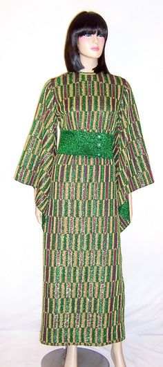 1960's Aled #Couture of Israel, Metallic Knit Maxi-Dress