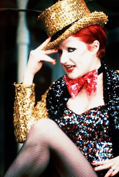 Nell Campbell as Columbia - Rocky Horror Picture Show (1975).  Costume designer Sue Blane shortened a pair trousers to create the hotpants.