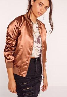 Premium Zip Detail Satin Bomber Jacket Bronze Gold