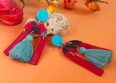 Pendientes turquesa con fleco, ceramic jewelry, statement earrings, boho jewelry, drop earrings modernist, bold earrings, Geometric Jewelry Statement Earrings, Drop Earrings, Geometric Jewelry, Ceramic Jewelry, Boho Jewelry, Ceramics, Personalized Items, Etsy, Design
