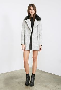 Faux Fur Collared Zippered Coat | Forever 21 - 2000120783