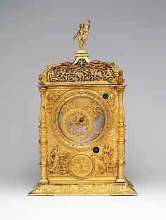 This object is an astronomical clock. This clock is designed with gold and engraved with many designs. Astronomical clocks are not clocks in the traditional sense as they are used to calculate the positions of the sun, moon, and stars at any time using its gears. People used this information to tell the time among other things. Astronomical clocks go back as far as 2nd century BC but they only got popular in the 11th century. This fits into my theme as it shows another way people told time.