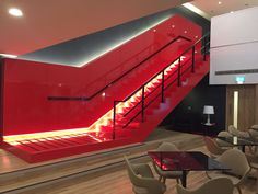 Silestone Rosso Monza becomes the king of this space! We can´t stop looking at this staircase! Basement Inspiration, Skirting Boards, Wall Cladding, East London, Surface Design, Stairs, King, Flooring, Architecture