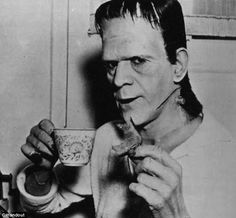 Boris Karloff in 1970s 'Frankenstein', taking a break from filming