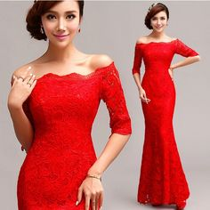 Free Shipping Luxury Chinese Red Mermaid Evening Gown Lace Prom Homecoming Prom  Party Formal Dress High 6cf3cab813c4