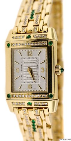 Women Jaeger-LeCoultre Reverso YG Diamond and Emerald Dress | diamond watches for women | 300watches