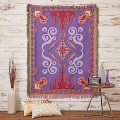 Turn your house into a whole new world! This woven tapestry looks just like the magic carpet from Aladdin. x polyesterWash cold; Carpet Decor, Diy Carpet, Rugs On Carpet, Disney Princess Room, Princess Castle, Princess Jasmine, Disney Themed Bedrooms, Aladdin Magic Carpet, Disney Furniture
