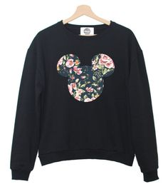 FLORAL MICKEY EARS SWEATER JUMPER WOMENS RETRO VINTAGE INDIE TUMBLR HIPSTER CUTE | eBay