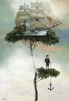 ship stuck in tree; sailors lost? - TL